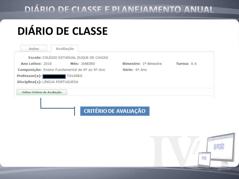 CRITÉRIO DE CRITÉRIO DE CRITÉRIO DE AVALIAÇÃO