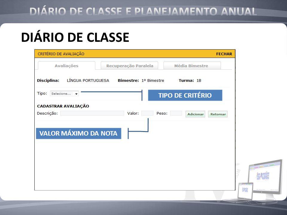 DIÁRIO DE CLASSE CRITÉRIO DE CRITÉRIO TIPO DE CRITÉRIO VALOR MÁXIMO DA NOTA