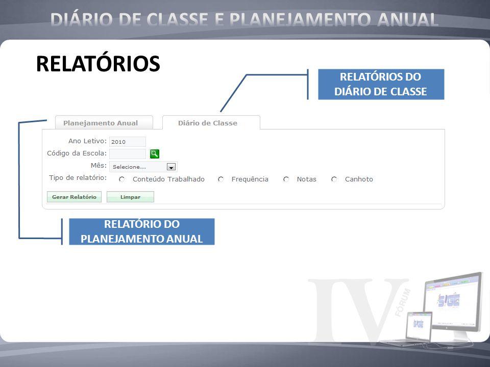 RELATÓRIOS RELATÓRIOS DO DIÁRIO DE CLASSE RELATÓRIO DO PLANEJAMENTO ANUAL