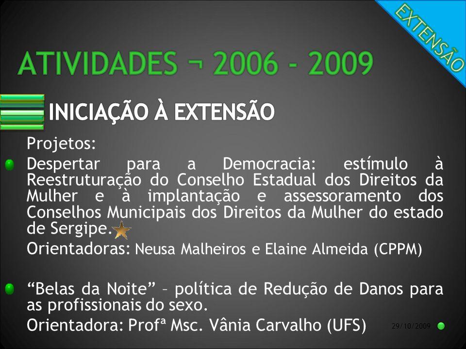 29/10/2009 Projetos: Despertar para a Democracia: estímulo à Reestruturação do Conselho Estadual dos Direitos da Mulher e à implantação e assessoramento dos Conselhos Municipais dos Direitos da Mulher do estado de Sergipe.