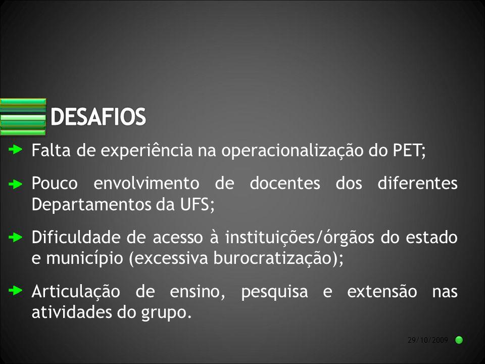 29/10/2009 Falta de experiência na operacionalização do PET; Pouco envolvimento de docentes dos diferentes Departamentos da UFS; Dificuldade de acesso à instituições/órgãos do estado e município (excessiva burocratização); Articulação de ensino, pesquisa e extensão nas atividades do grupo.