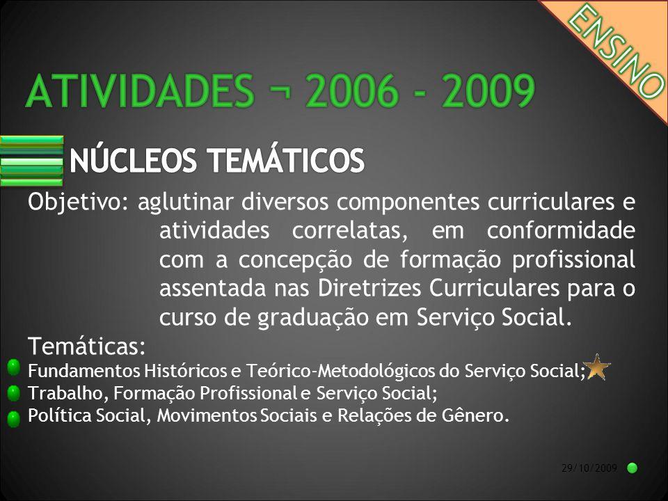 29/10/2009 Objetivo: aglutinar diversos componentes curriculares e atividades correlatas, em conformidade com a concepção de formação profissional assentada nas Diretrizes Curriculares para o curso de graduação em Serviço Social.