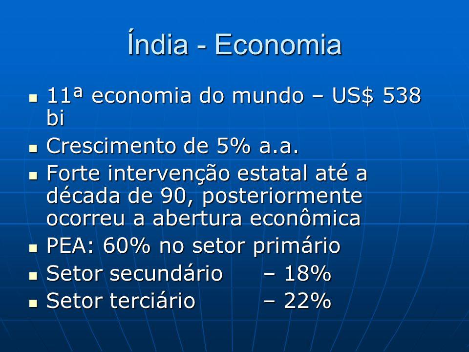 Índia - Economia 11ª economia do mundo – US$ 538 bi 11ª economia do mundo – US$ 538 bi Crescimento de 5% a.a. Crescimento de 5% a.a. Forte intervenção