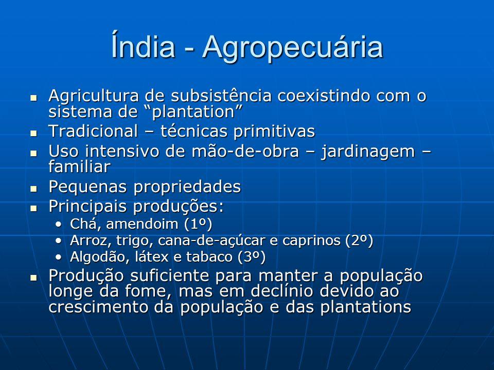 Índia - Agropecuária Agricultura de subsistência coexistindo com o sistema de plantation Agricultura de subsistência coexistindo com o sistema de plan