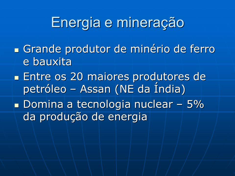 Energia e mineração Grande produtor de minério de ferro e bauxita Grande produtor de minério de ferro e bauxita Entre os 20 maiores produtores de petróleo – Assan (NE da Índia) Entre os 20 maiores produtores de petróleo – Assan (NE da Índia) Domina a tecnologia nuclear – 5% da produção de energia Domina a tecnologia nuclear – 5% da produção de energia