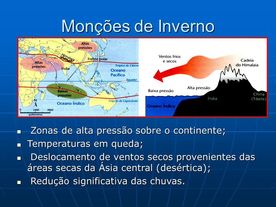 Monções de Inverno Zonas de alta pressão sobre o continente; Zonas de alta pressão sobre o continente; Temperaturas em queda; Temperaturas em queda; D