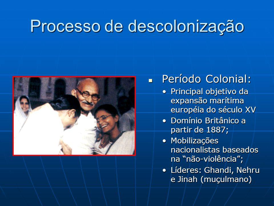 Processo de descolonização Período Colonial: Período Colonial: Principal objetivo da expansão marítima européia do século XV Domínio Britânico a parti