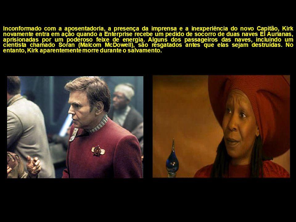 No século 23, o aposentado Capitão James T. Kirk (William Shatner) e dois de seus antigos oficiais, Scotty (James Doohan) e Chekov (Walter Koenig), sã