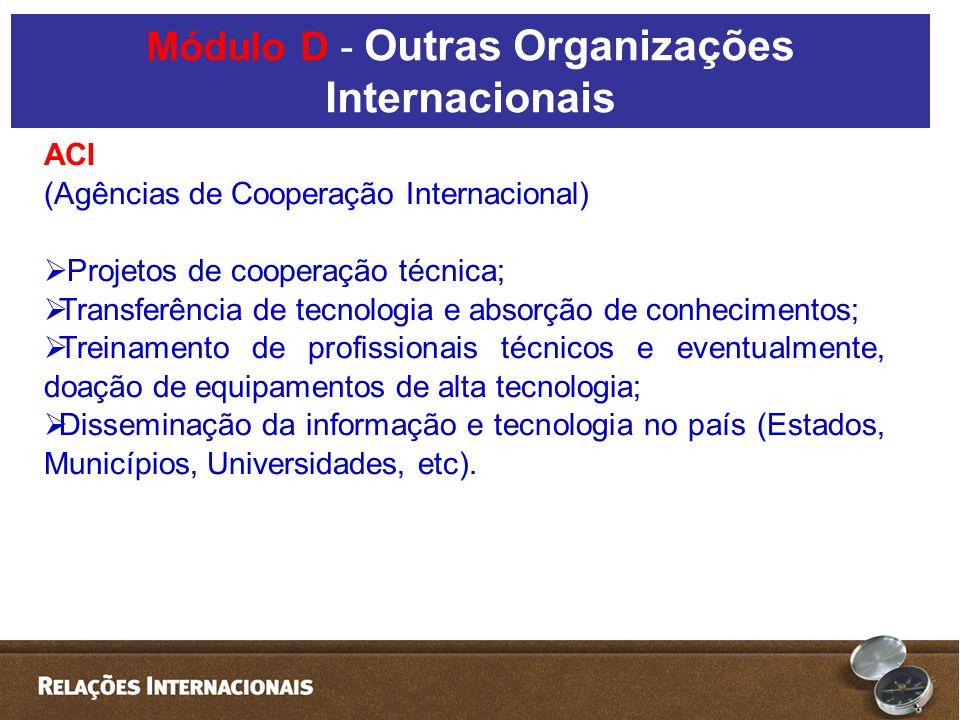 ACI (Agências de Cooperação Internacional) Projetos de cooperação técnica; Transferência de tecnologia e absorção de conhecimentos; Treinamento de pro