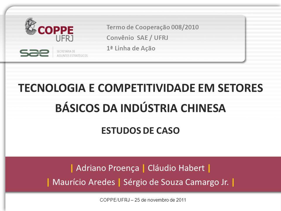 Termo de Cooperação 008/2010 Convênio SAE / UFRJ 1ª Linha de Ação TECNOLOGIA E COMPETITIVIDADE EM SETORES BÁSICOS DA INDÚSTRIA CHINESA ESTUDOS DE CASO