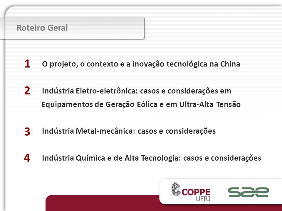 Roteiro Geral O projeto, o contexto e a inovação tecnológica na China Indústria Eletro-eletrônica: casos e considerações em Equipamentos de Geração Eó