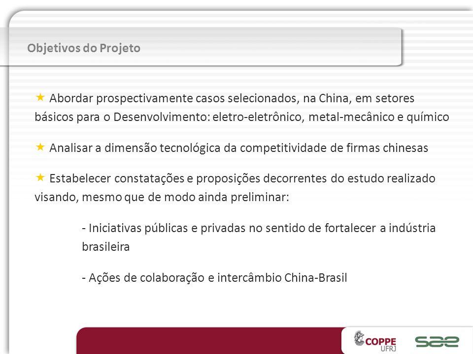 Abordar prospectivamente casos selecionados, na China, em setores básicos para o Desenvolvimento: eletro-eletrônico, metal-mecânico e químico Analisar a dimensão tecnológica da competitividade de firmas chinesas Estabelecer constatações e proposições decorrentes do estudo realizado visando, mesmo que de modo ainda preliminar: - Iniciativas públicas e privadas no sentido de fortalecer a indústria brasileira - Ações de colaboração e intercâmbio China-Brasil Objetivos do Projeto