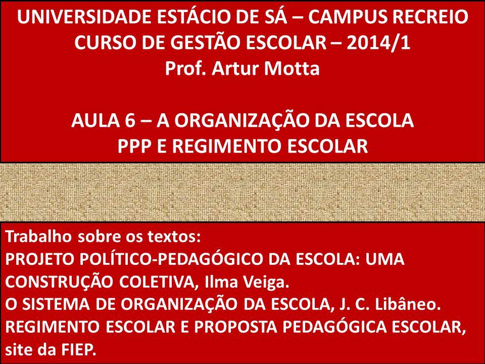 UNIVERSIDADE ESTÁCIO DE SÁ – CAMPUS RECREIO CURSO DE GESTÃO ESCOLAR – 2014/1 Prof. Artur Motta AULA 6 – A ORGANIZAÇÃO DA ESCOLA PPP E REGIMENTO ESCOLA