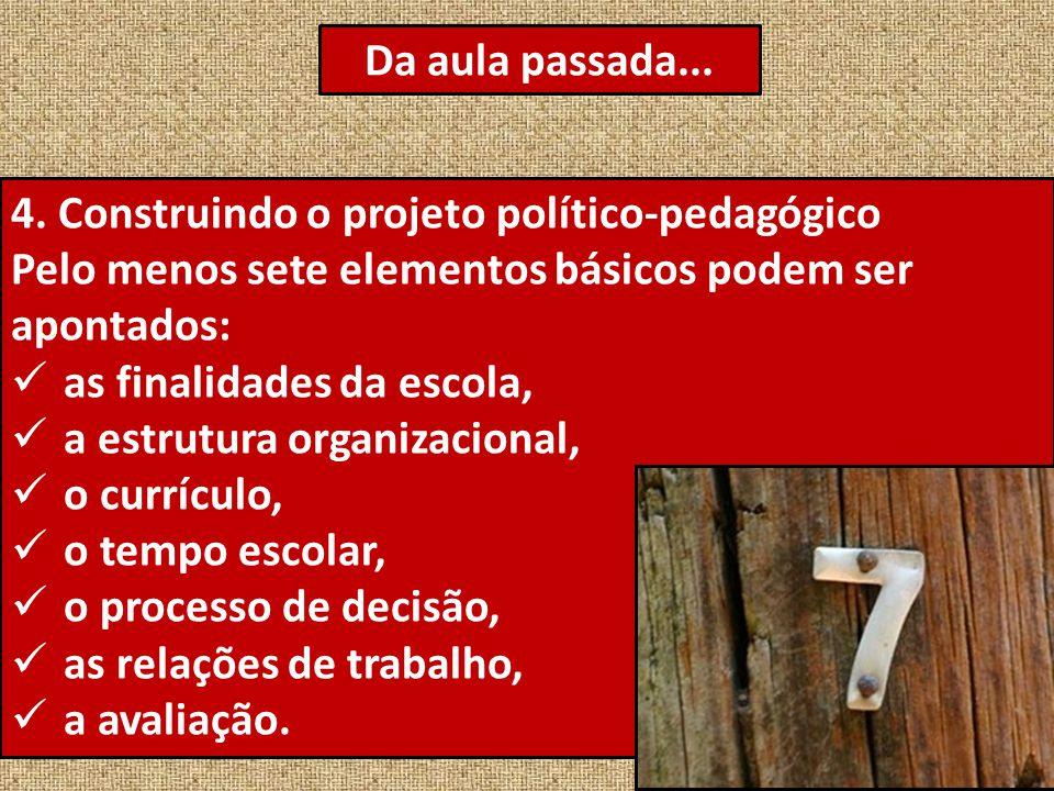 4. Construindo o projeto político-pedagógico Pelo menos sete elementos básicos podem ser apontados: as finalidades da escola, a estrutura organizacion