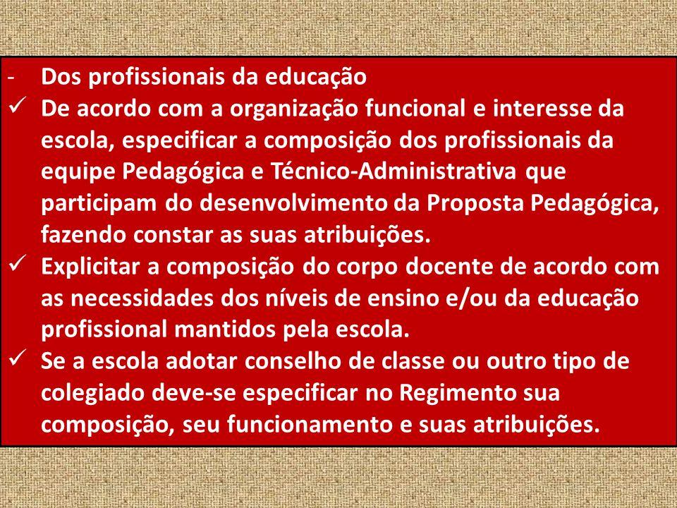 -Dos profissionais da educação De acordo com a organização funcional e interesse da escola, especificar a composição dos profissionais da equipe Pedag