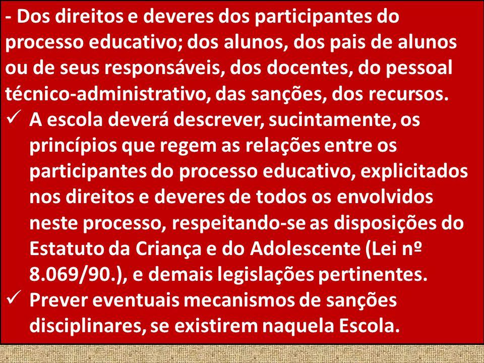- Dos direitos e deveres dos participantes do processo educativo; dos alunos, dos pais de alunos ou de seus responsáveis, dos docentes, do pessoal téc
