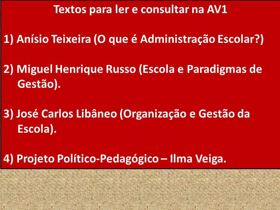 Textos para ler e consultar na AV1 1) Anísio Teixeira (O que é Administração Escolar?) 2) Miguel Henrique Russo (Escola e Paradigmas de Gestão). 3) Jo