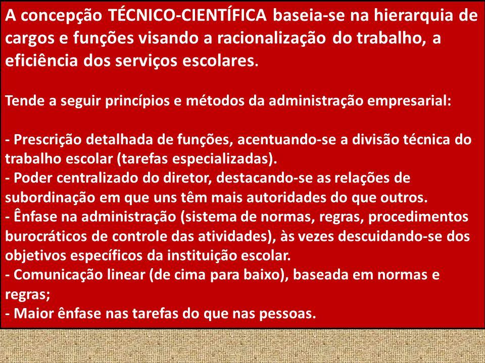 A concepção TÉCNICO-CIENTÍFICA baseia-se na hierarquia de cargos e funções visando a racionalização do trabalho, a eficiência dos serviços escolares.
