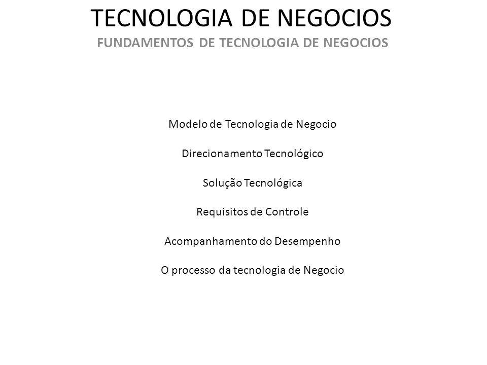 TECNOLOGIA DE NEGOCIOS FUNDAMENTOS DE TECNOLOGIA DE NEGOCIOS Modelo de Tecnologia de Negocio Direcionamento Tecnológico Solução Tecnológica Requisitos
