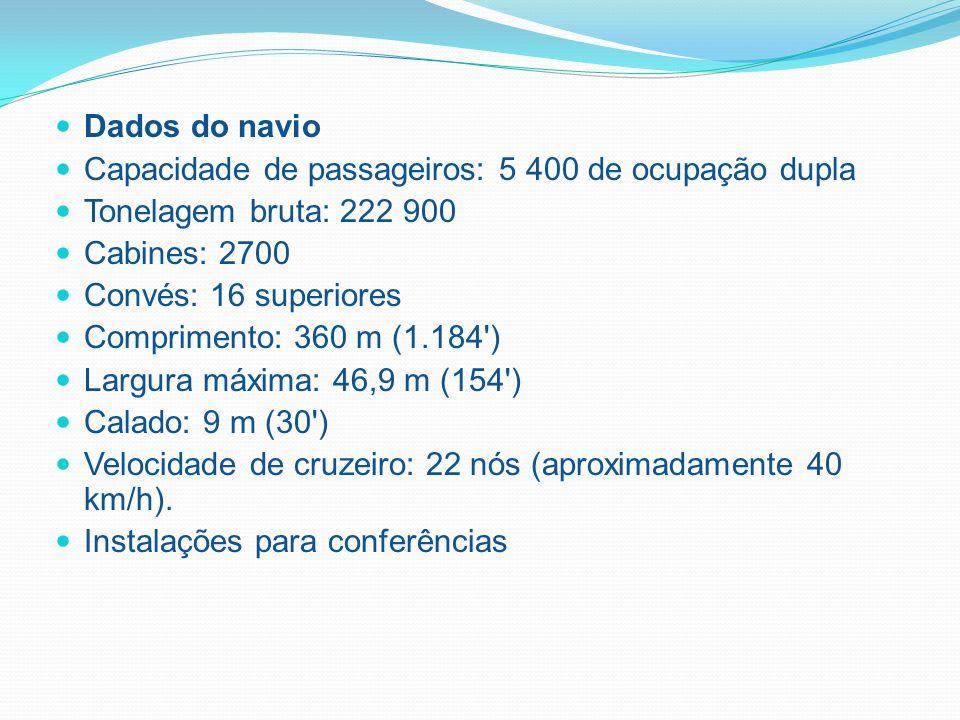 Dados do navio Capacidade de passageiros: 5 400 de ocupação dupla Tonelagem bruta: 222 900 Cabines: 2700 Convés: 16 superiores Comprimento: 360 m (1.184 ) Largura máxima: 46,9 m (154 ) Calado: 9 m (30 ) Velocidade de cruzeiro: 22 nós (aproximadamente 40 km/h).