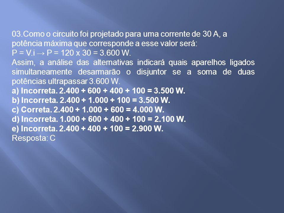 03.Como o circuito foi projetado para uma corrente de 30 A, a potência máxima que corresponde a esse valor será: P = V.i P = 120 x 30 = 3.600 W. Assim