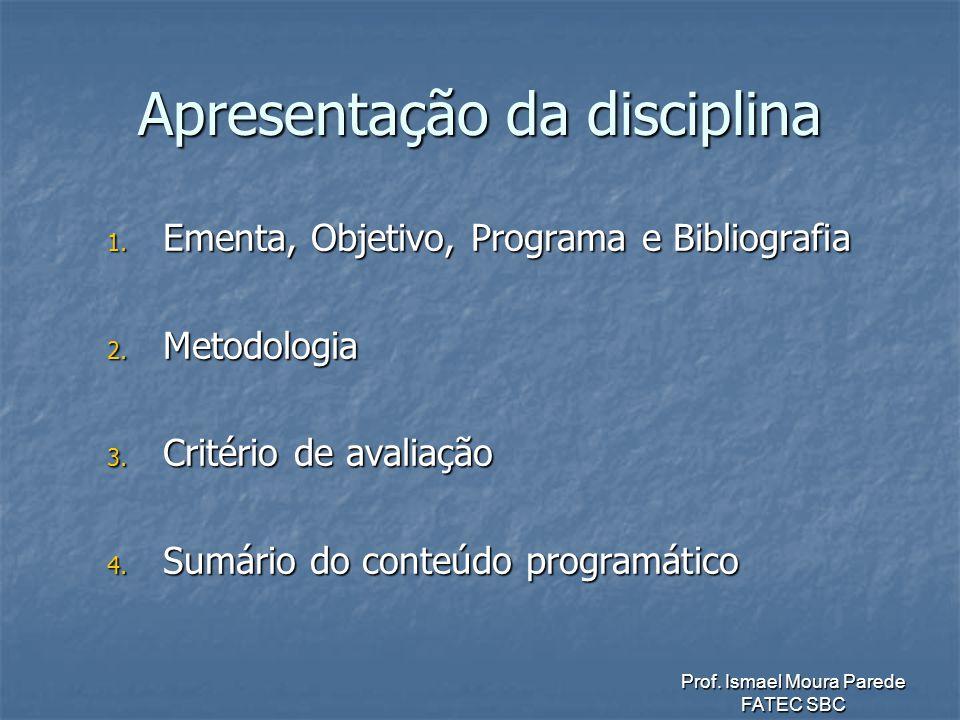 Prof.Ismael Moura Parede FATEC SBC Apresentação da disciplina 1.