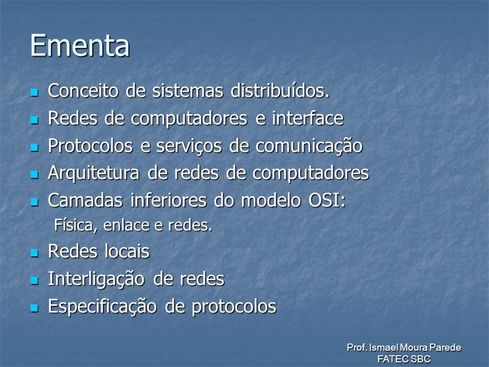 Prof.Ismael Moura Parede FATEC SBC Ementa Conceito de sistemas distribuídos.