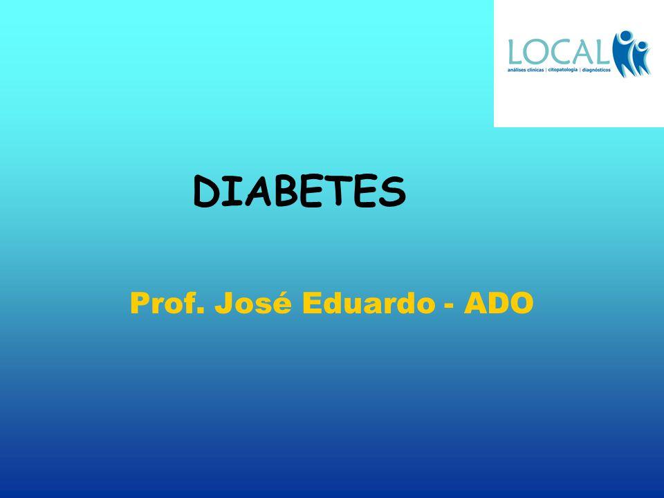 Diabetes OUTROS TIPOS DE DIABETES menos freqüentes A- diabetes gestacional B- diabetes secundária ao aumento de função das glândulas endócrinas C- diabetes secundária a doenças pancreáticas D- resistência congênita ou adquirida a insulina E- diabetes associada a poliendócrinopátias F- diabetes associada a desnutrição e fibrocalculose G- diabetes associada a insulinopatias H- diabetes tipo LADA latent autoimune diabetes in adults