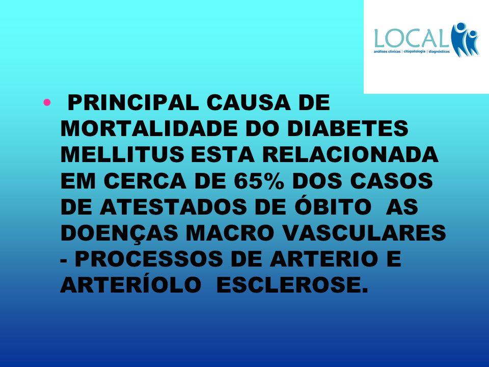 PRINCIPAL CAUSA DE MORTALIDADE DO DIABETES MELLITUS ESTA RELACIONADA EM CERCA DE 65% DOS CASOS DE ATESTADOS DE ÓBITO AS DOENÇAS MACRO VASCULARES - PRO