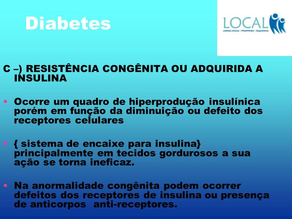 Diabetes C –) RESISTÊNCIA CONGÊNITA OU ADQUIRIDA A INSULINA Ocorre um quadro de hiperprodução insulínica porém em função da diminuição ou defeito dos