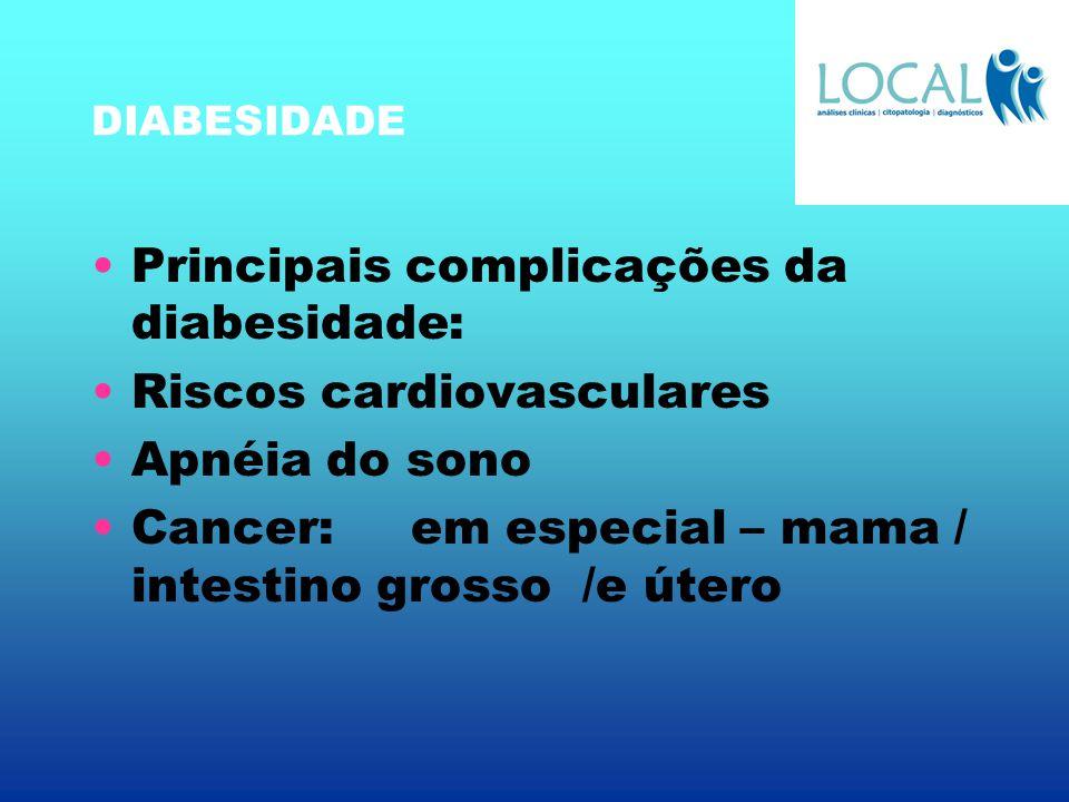 DIABESIDADE Principais complicações da diabesidade: Riscos cardiovasculares Apnéia do sono Cancer: em especial – mama / intestino grosso /e útero