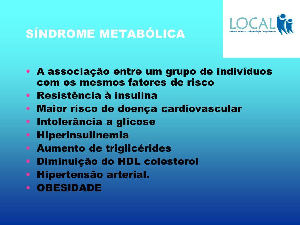 SÍNDROME METABÓLICA A associação entre um grupo de indivíduos com os mesmos fatores de risco Resistência à insulina Maior risco de doença cardiovascul