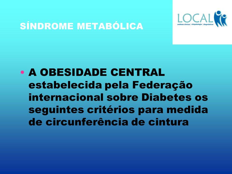 SÍNDROME METABÓLICA A OBESIDADE CENTRAL estabelecida pela Federação internacional sobre Diabetes os seguintes critérios para medida de circunferência