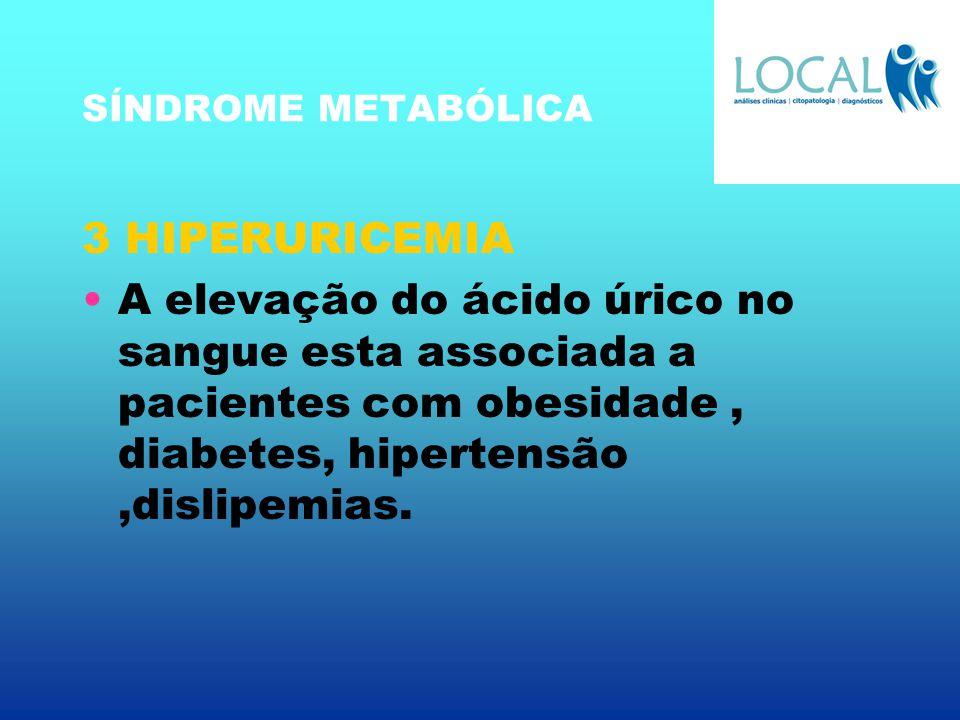 SÍNDROME METABÓLICA 3 HIPERURICEMIA A elevação do ácido úrico no sangue esta associada a pacientes com obesidade, diabetes, hipertensão,dislipemias.
