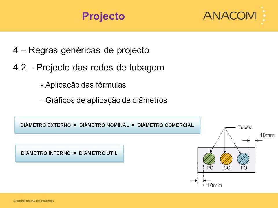 Projecto 4 – Regras genéricas de projecto 4.2 – Projecto das redes de tubagem - Aplicação das fórmulas - Gráficos de aplicação de diâmetros