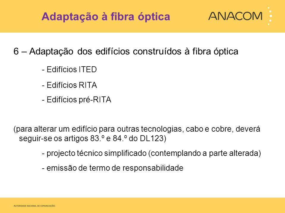 Adaptação à fibra óptica 6 – Adaptação dos edifícios construídos à fibra óptica - Edifícios ITED - Edifícios RITA - Edifícios pré-RITA (para alterar u