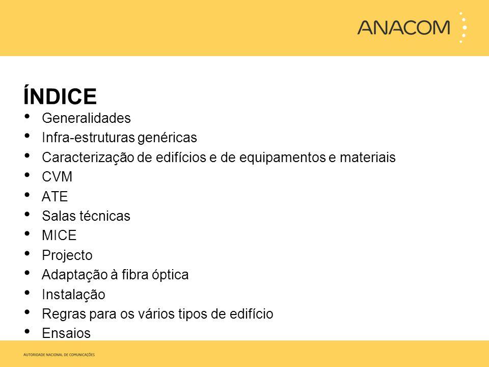 ÍNDICE Generalidades Infra-estruturas genéricas Caracterização de edifícios e de equipamentos e materiais CVM ATE Salas técnicas MICE Projecto Adaptaç