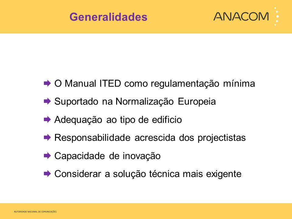 Generalidades O Manual ITED como regulamentação mínima Suportado na Normalização Europeia Adequação ao tipo de edificio Responsabilidade acrescida dos