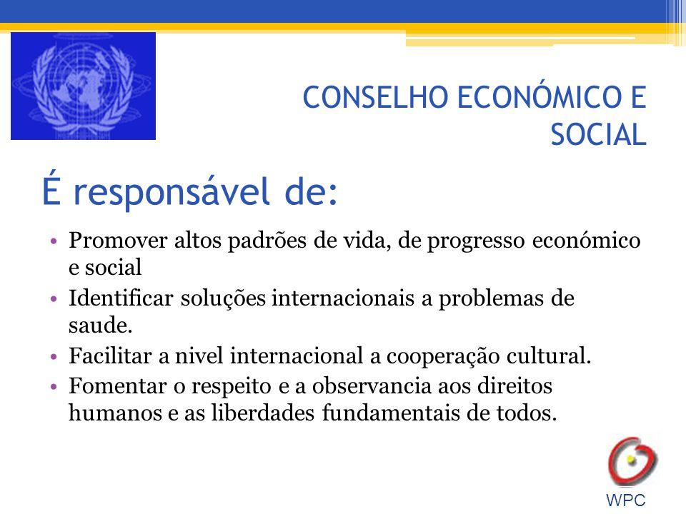 É responsável de: Promover altos padrões de vida, de progresso económico e social Identificar soluções internacionais a problemas de saude.