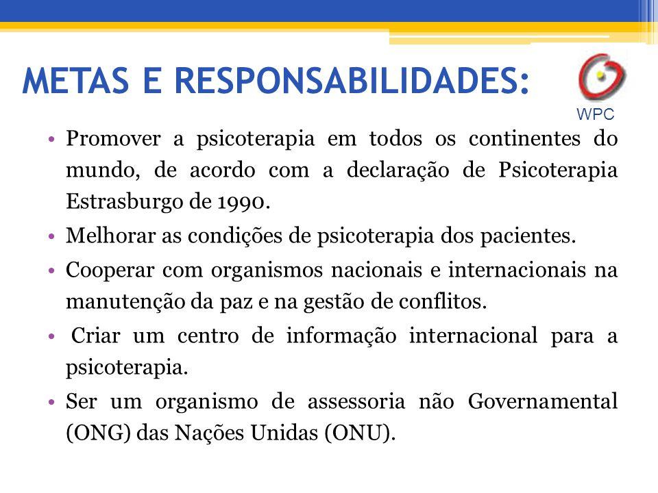 METAS E RESPONSABILIDADES: Promover a psicoterapia em todos os continentes do mundo, de acordo com a declaração de Psicoterapia Estrasburgo de 1990.