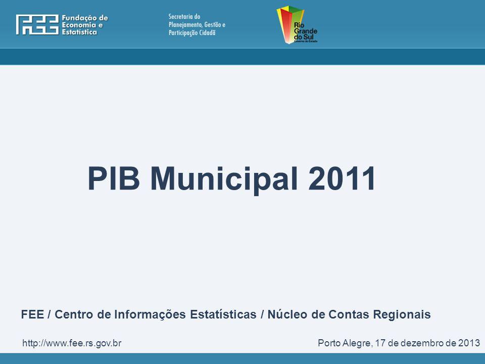 PIB Municipal 2011 Porto Alegre, 17 de dezembro de 2013http://www.fee.rs.gov.br FEE / Centro de Informações Estatísticas / Núcleo de Contas Regionais