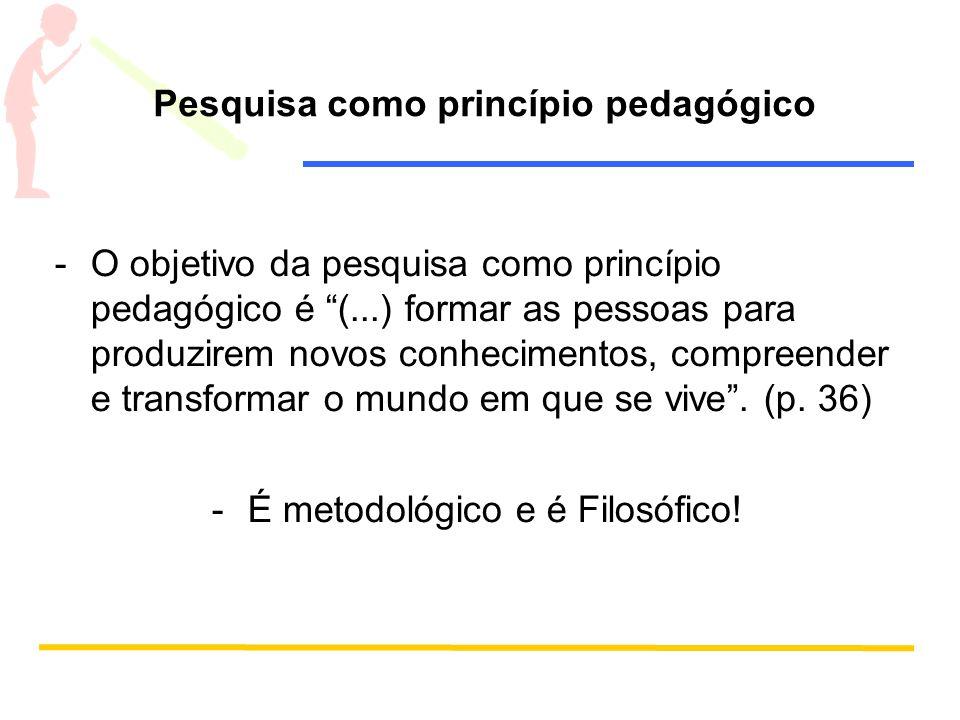 Pesquisa como princípio pedagógico -O objetivo da pesquisa como princípio pedagógico é (...) formar as pessoas para produzirem novos conhecimentos, co