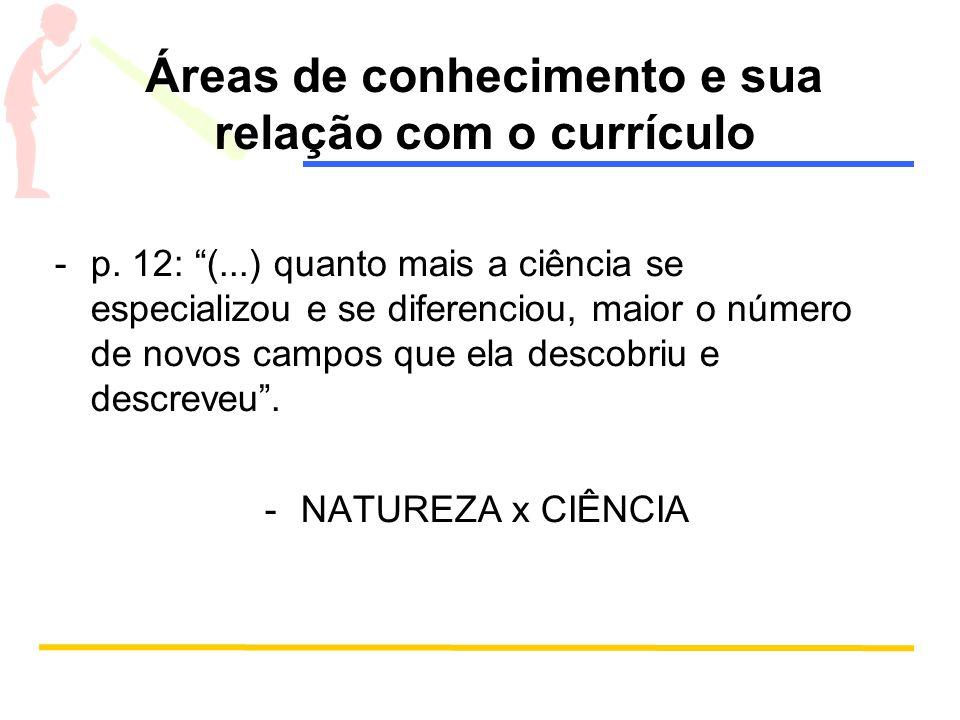 Áreas de conhecimento e sua relação com o currículo -p. 12: (...) quanto mais a ciência se especializou e se diferenciou, maior o número de novos camp
