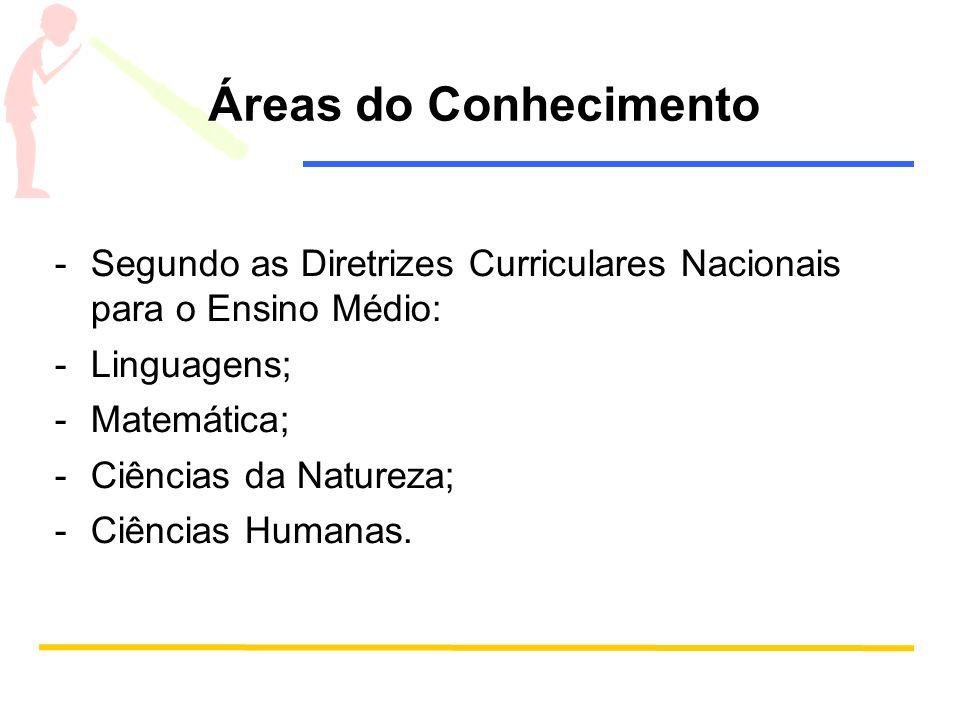 Áreas do Conhecimento -Segundo as Diretrizes Curriculares Nacionais para o Ensino Médio: -Linguagens; -Matemática; -Ciências da Natureza; -Ciências Hu