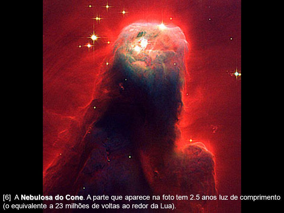[5] A Nebulosa Ampulheta Ampulheta, distante 8.000 anos luz, que tem um estrangulamento no meio, por causa dos ventos que modelam a nebulosa, serem ma