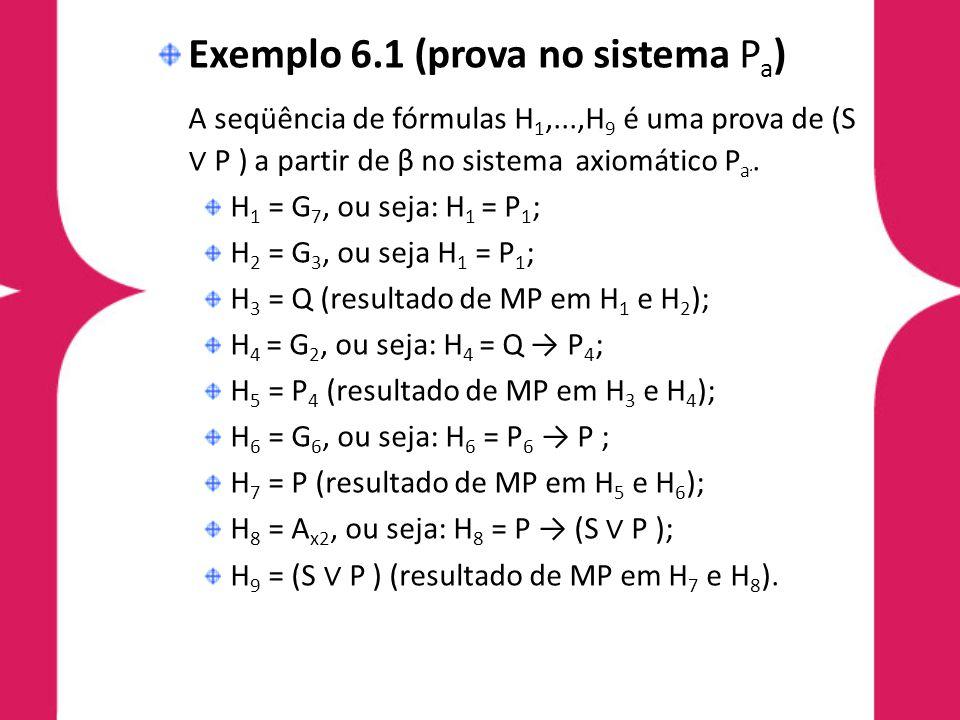 Exemplo 6.1 (prova no sistema P a ) A seqüência de fórmulas H 1,...,H 9 é uma prova de (S P ) a partir de β no sistema axiomático P a a. H 1 = G 7, ou