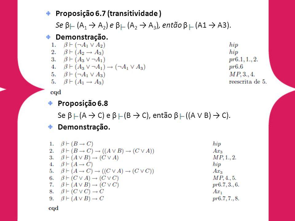 Proposição 6.7 (transitividade ) Se β (A 1 A 2 ) e β (A 2 A 3 ), então β (A1 A3). Demonstração. Proposição 6.8 Se β (A C) e β (B C), então β ((A B) C)