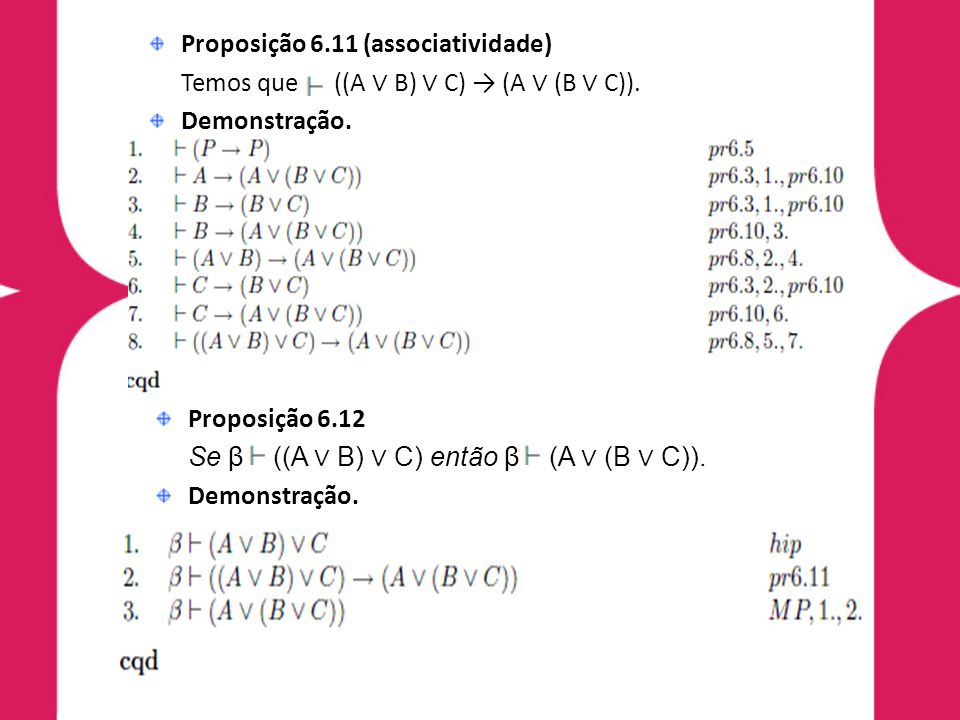 Proposição 6.11 (associatividade) Temos que ((A B) C) (A (B C)). Demonstração. Proposição 6.12 Se β ((A B) C) então β (A (B C)). Demonstração.
