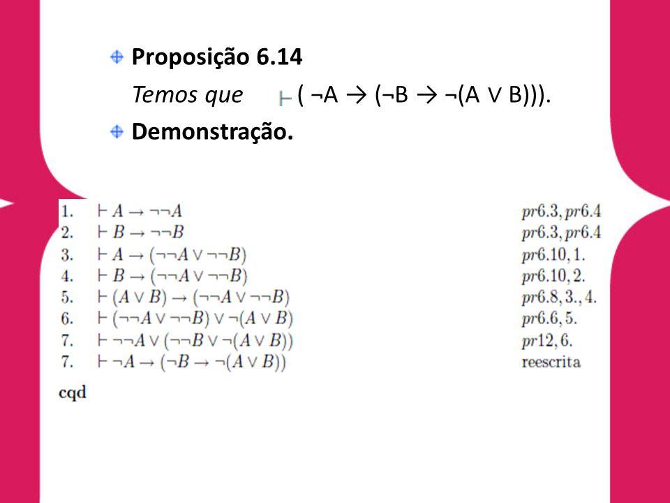 Proposição 6.14 Temos que ( ¬A (¬B ¬(A B))). Demonstração.