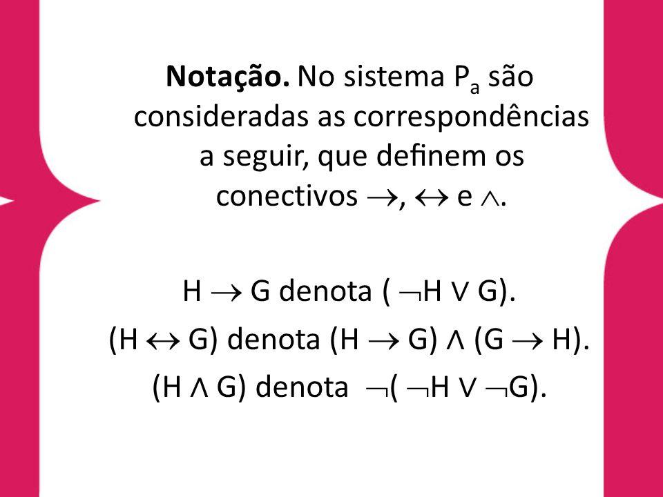 Denição 6.3 (regra de inferência do sistema P a, modus ponens) Dadas as fórmulas H e G, a regra de inferência do sistema P a, denominada modus ponens (MP ), é denida pelo procedimento: tendo H e (¬H G) deduza G.